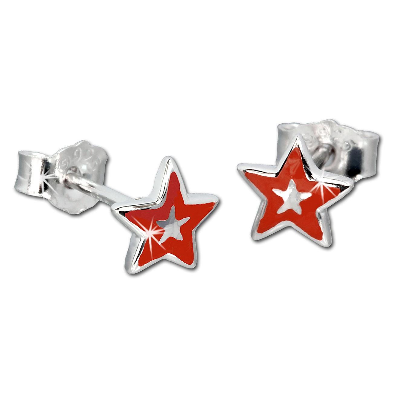 Kinder Ohrring Stern rot Silber Ohrstecker Kinderschmuck TW SDO200R