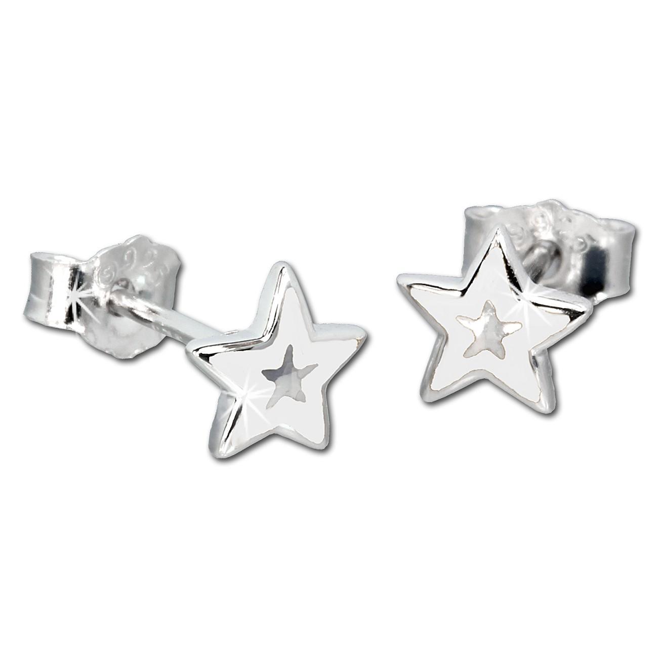Kinder Ohrring Stern weiß Silber Ohrstecker Kinderschmuck TW SDO200W
