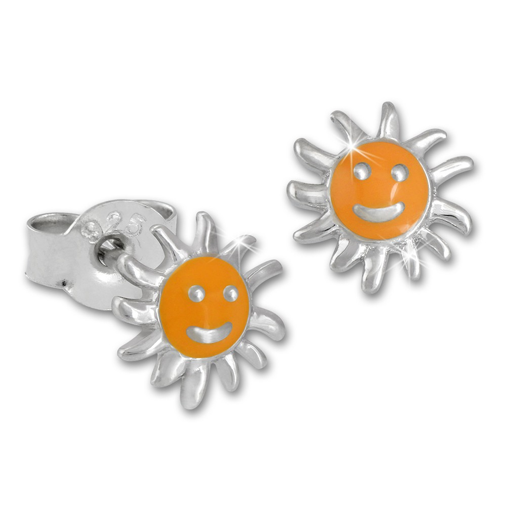 Kinder Ohrring Sonne gelb Silber Ohrstecker Kinderschmuck TW SDO201Y