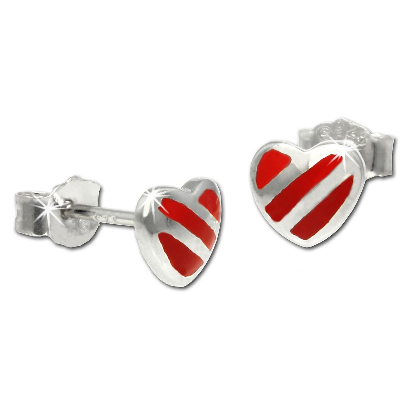 Kinder Ohrring Herz rot-silber Silber Ohrstecker Kinderschmuck SDO207R