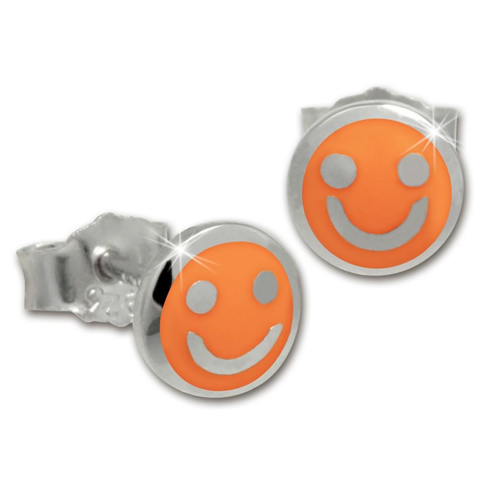 Kinder Ohrring Smiley orange Silber Ohrstecker Kinderschmuck TW SDO208O