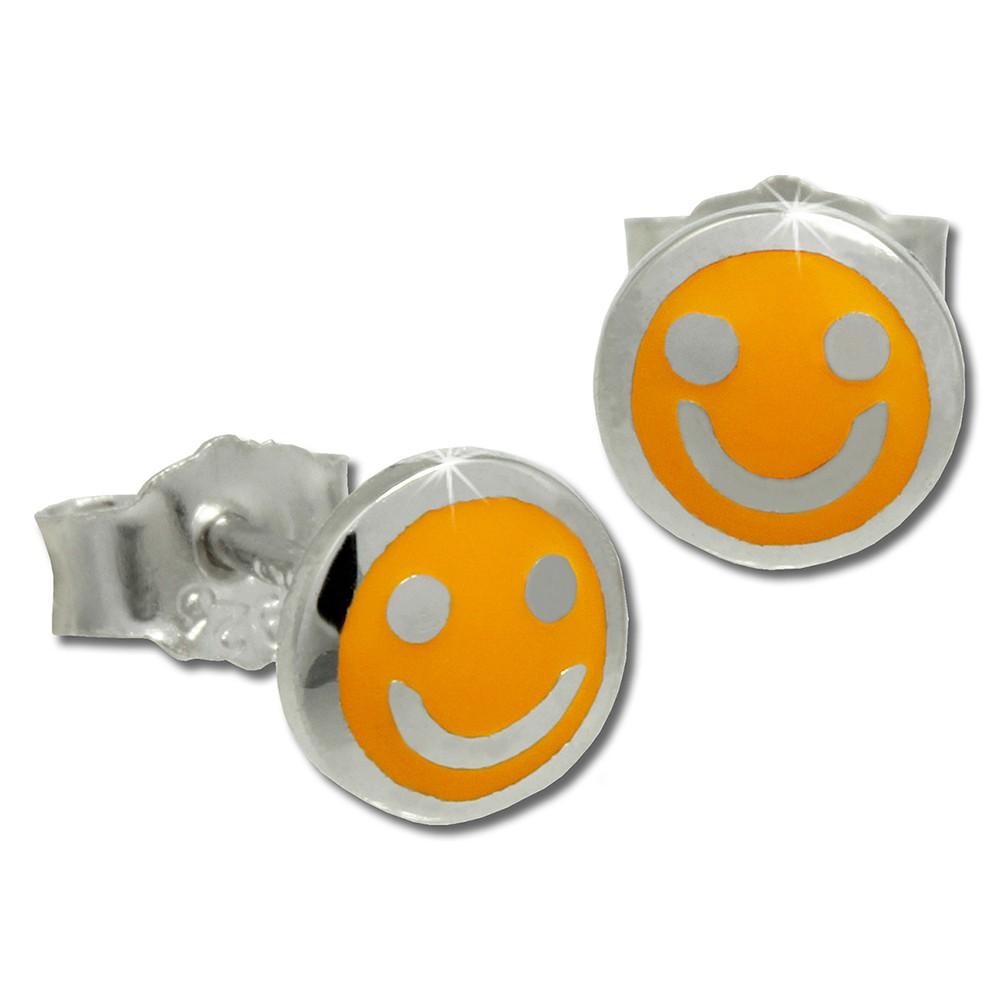 Kinder Ohrring Smiley gelb Silber Ohrstecker Kinderschmuck TW SDO208Y