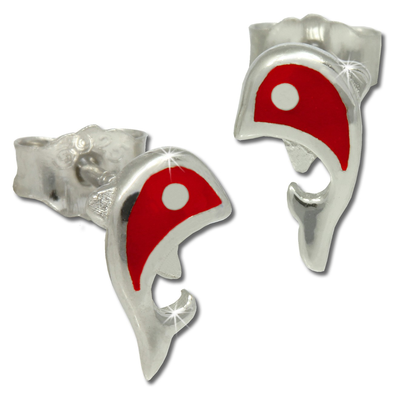 Kinder Ohrring Delfin rot Silber Ohrstecker Kinderschmuck TW SDO212R