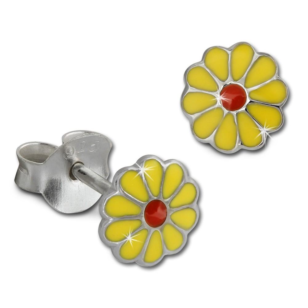 Kinder Ohrring Blume gelb Silber Ohrstecker Kinderschmuck TW SDO214Y