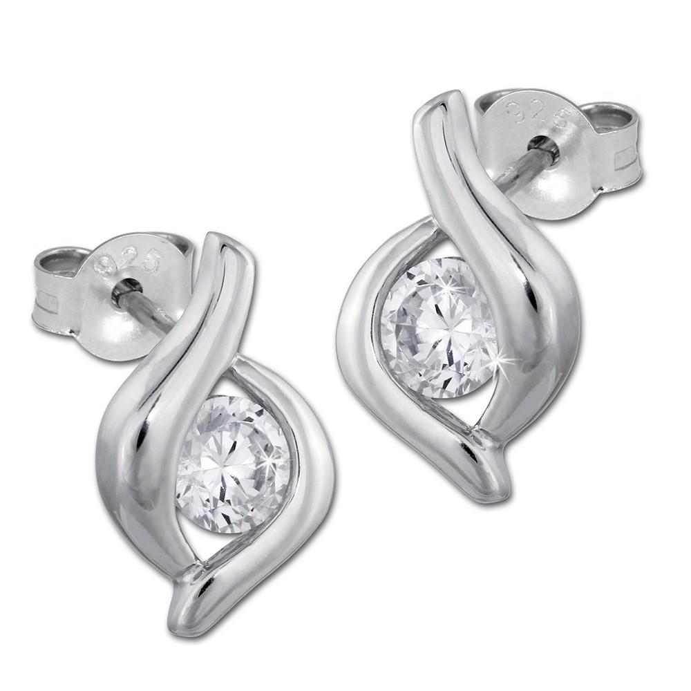 SilberDream Ohrstecker synthetischer Zirkonia weiß Ohrring SDO241W