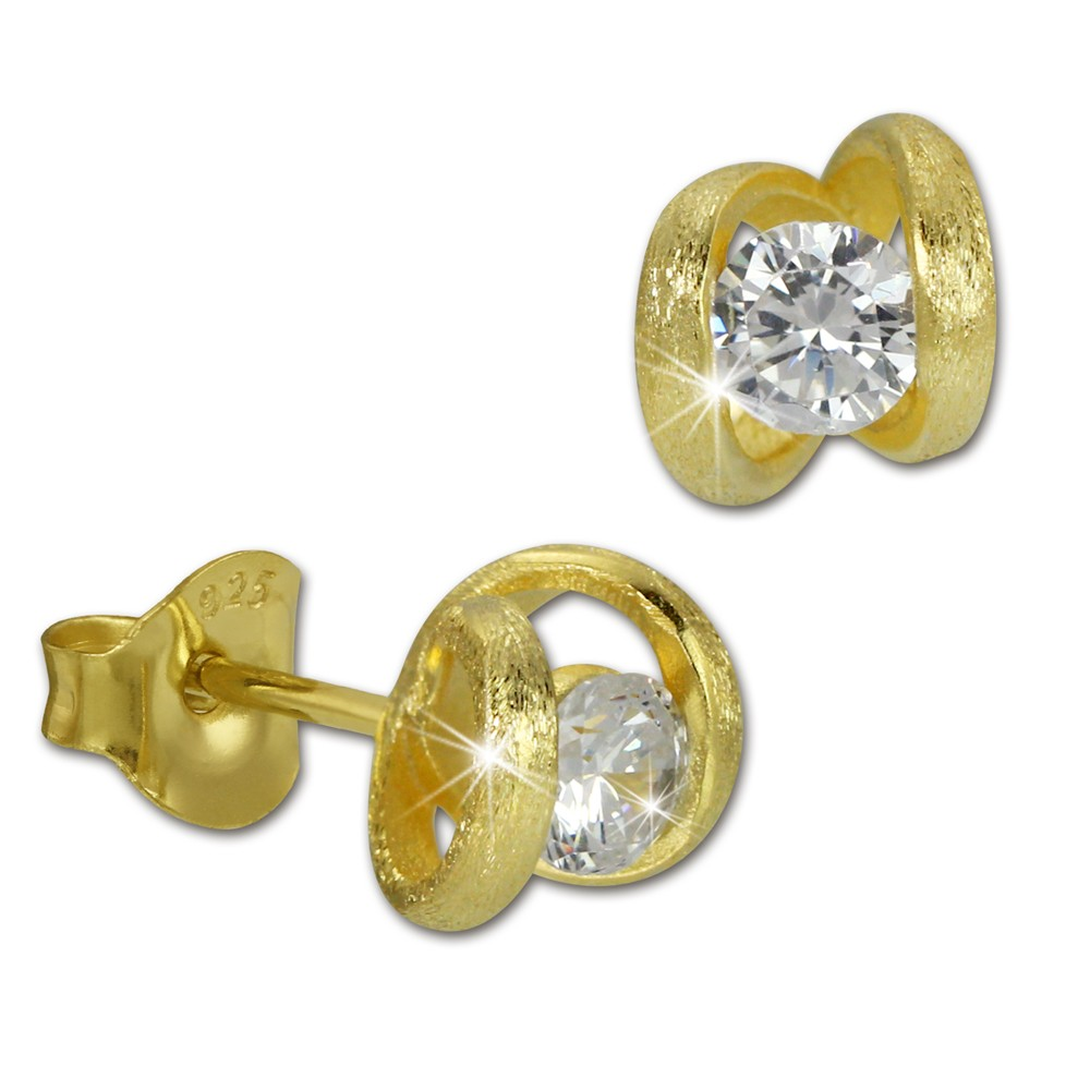 SilberDream Ohrstecker synthetischer Zirkonia weiß vergoldet Ohrring SDO242YW