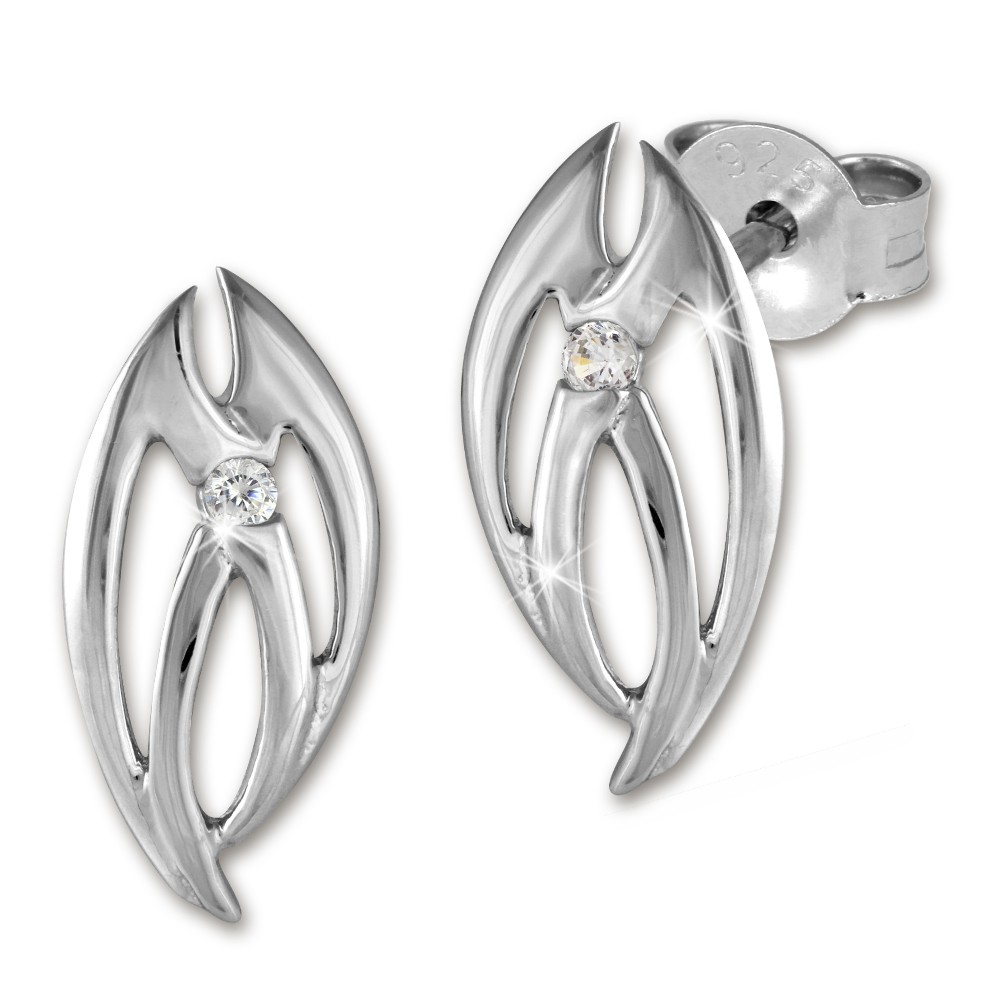 SilberDream Ohrstecker oval Zirkonia weiß teilmatt Ohrring SDO253PW