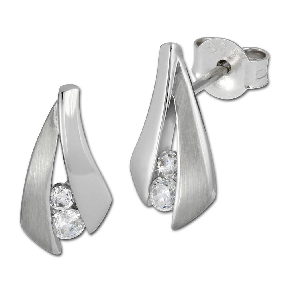 SilberDream Ohrstecker Zirkonia weiß, teilmattiert Ohrring SDO286PW