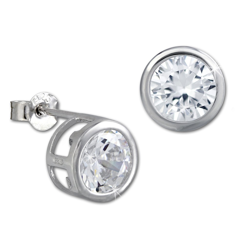SilberDream Ohrstecker Kreis Zirkonia weiß Ohrring SDO290W