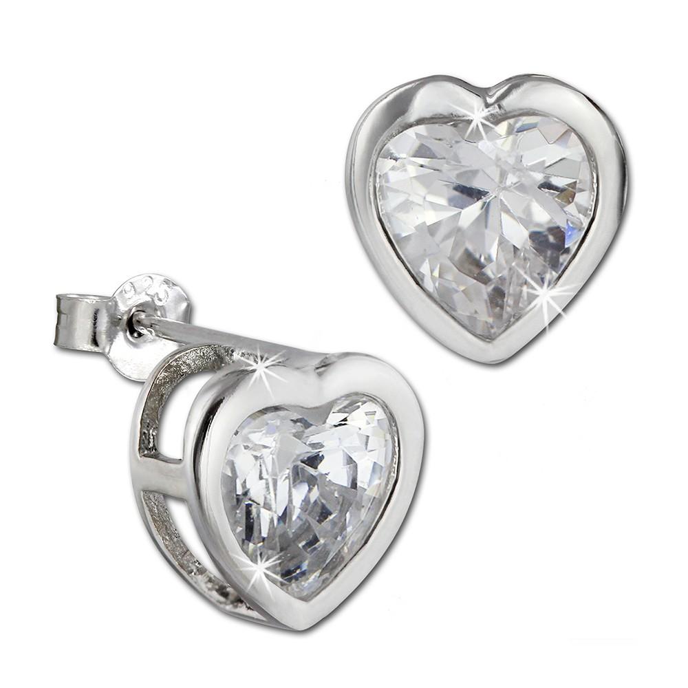 SilberDream Ohrstecker Herz mit synthetischen Zirkonia weiß Ohrring SDO295W