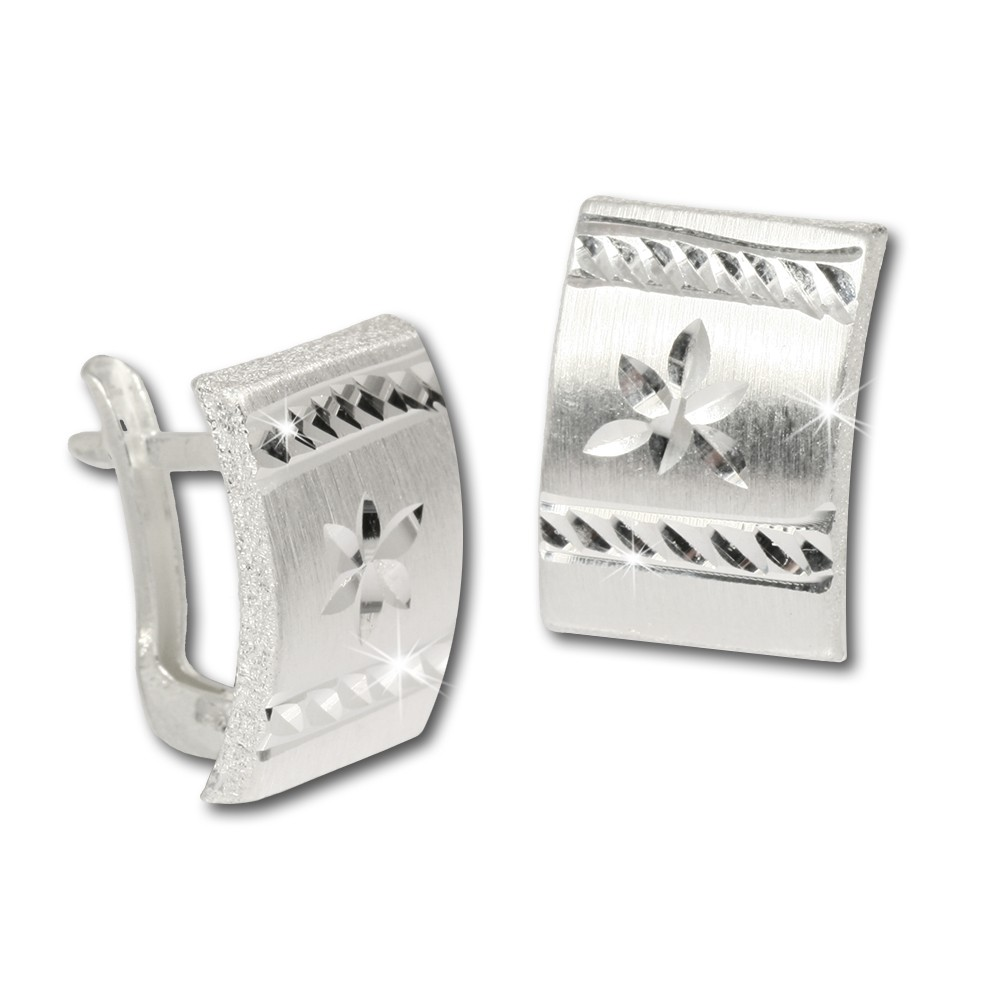 SilberDream Ohrring Blume diamantiert 925 Silber Ohrstecker SDO317