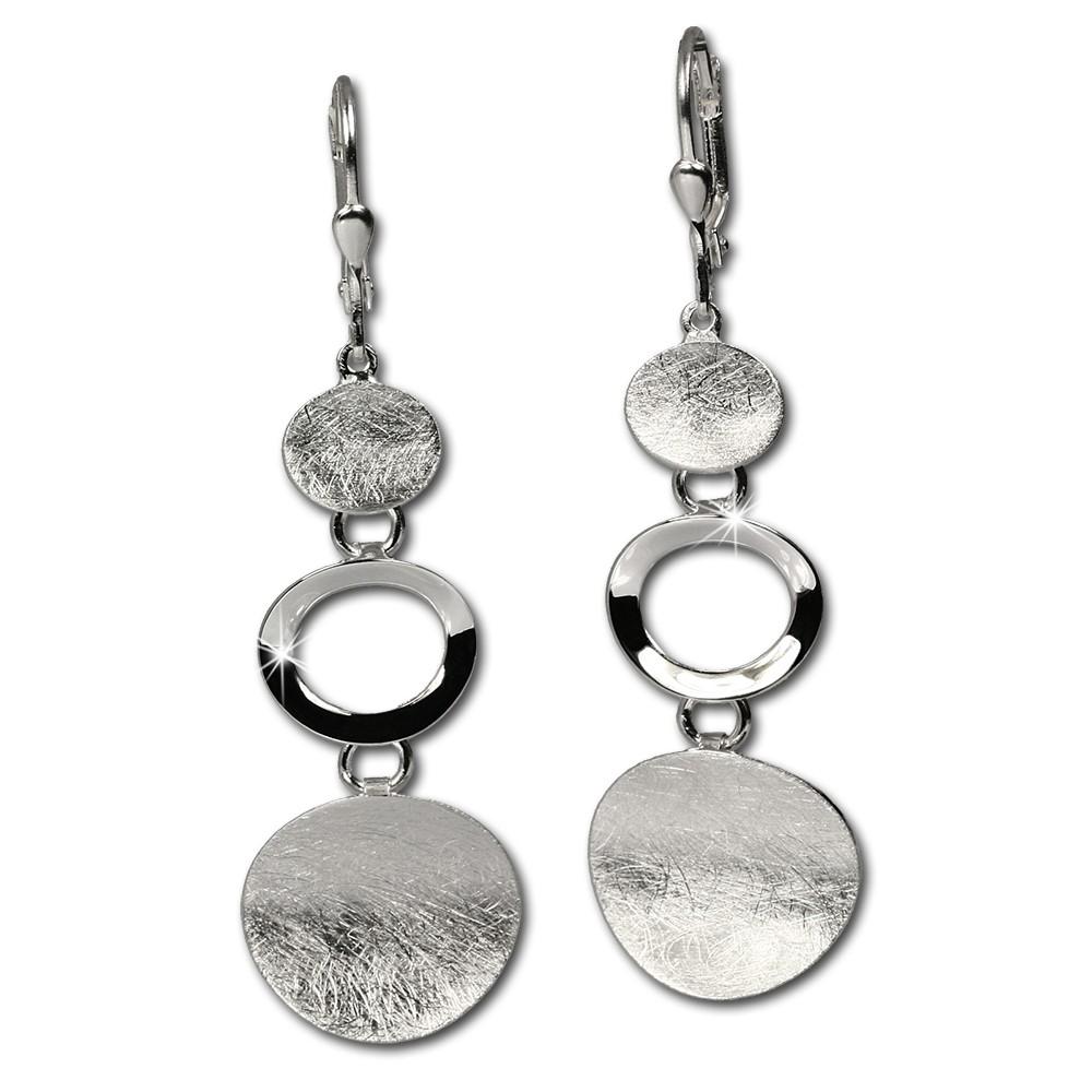 SilberDream Ohrringe mit matten Elementen 925 Vollsilber Ohrschmuck SDO345J