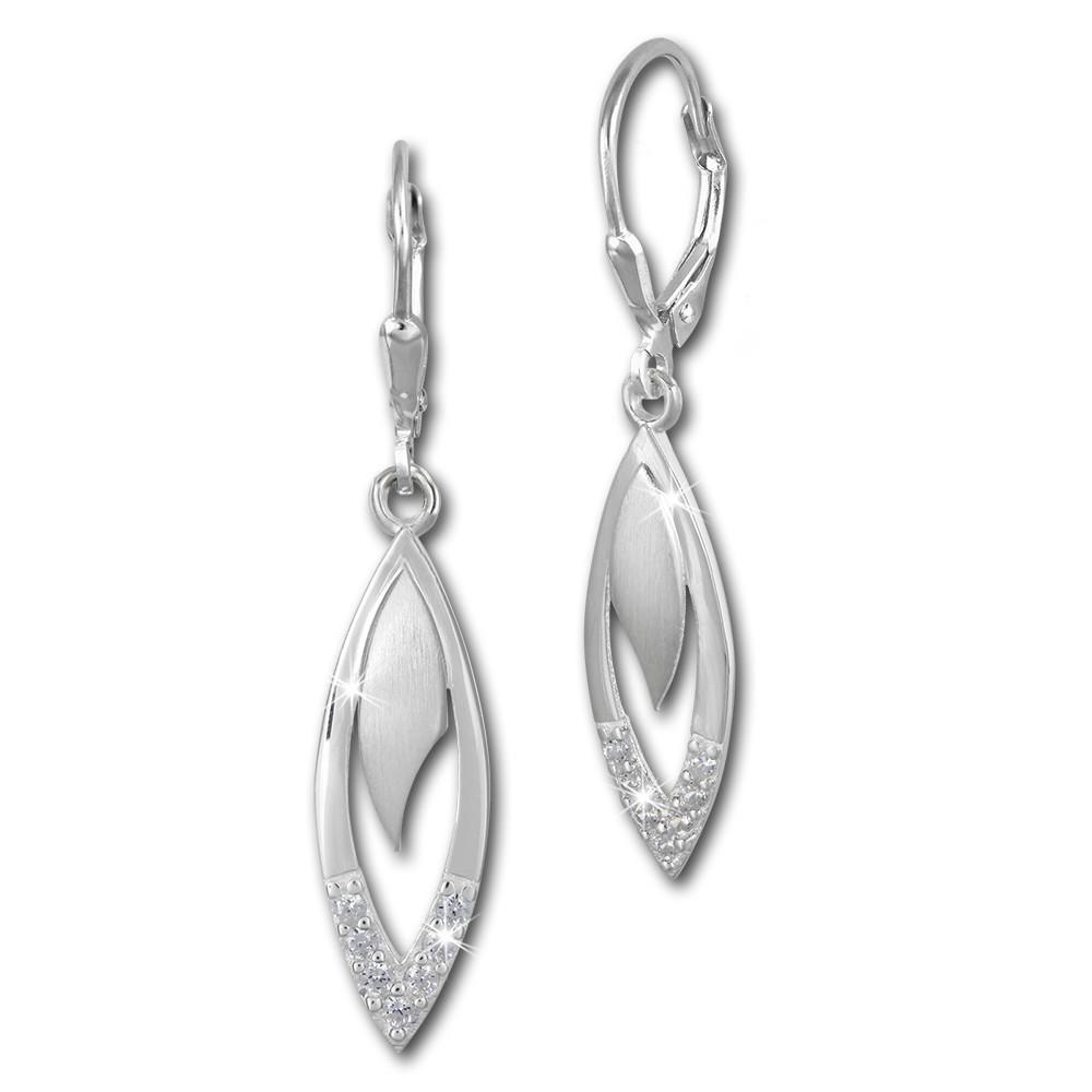 SilberDream Ohrhänger Tropfen Zirkonia weiß 925 Silber Ohrring SDO358M