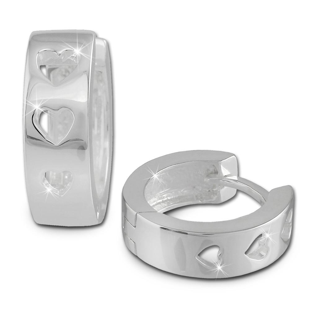 SilberDream Creole Herz 925 Sterling Silber Damen Ohrring SDO373S