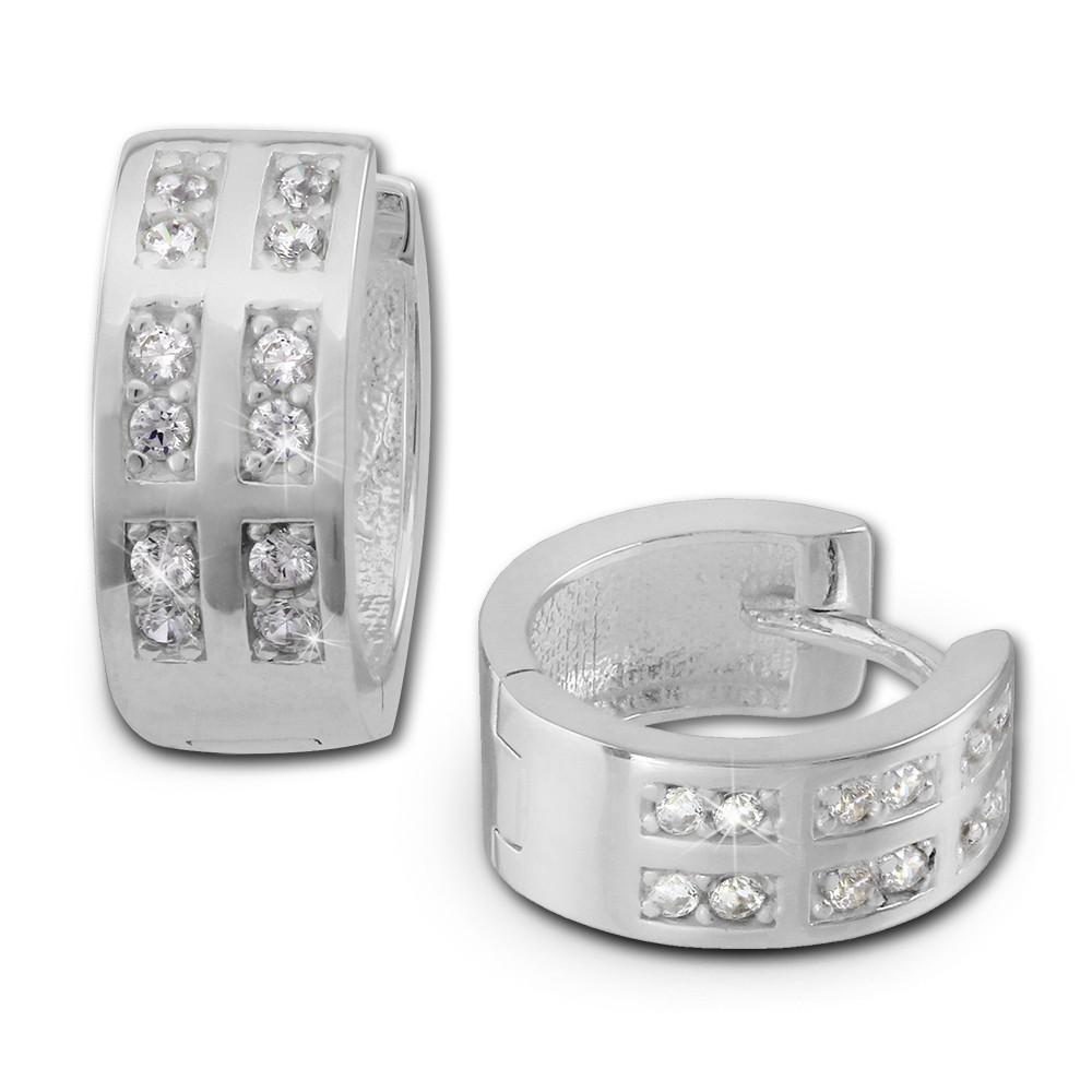 SilberDream Creole Zirkonia weiß 925 Sterling Silber Damen Ohrring SDO381W