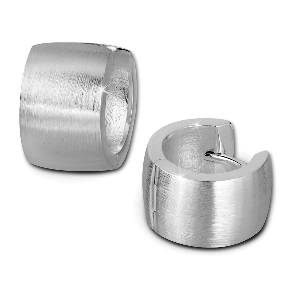 SilberDream Creole Matt 14mm 925 Sterling Silber Ohrring SDO382M