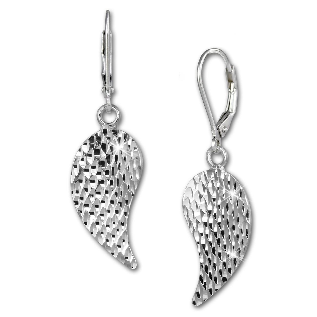 SilberDream Ohrhänger Flügel diamantiert 925er Silber Damen SDO388J