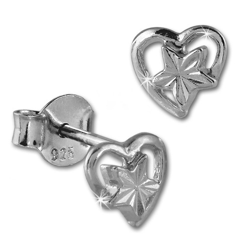 SilberDream Ohrstecker Herz mit Stern 925er Silber Damen Ohrringe SDO405