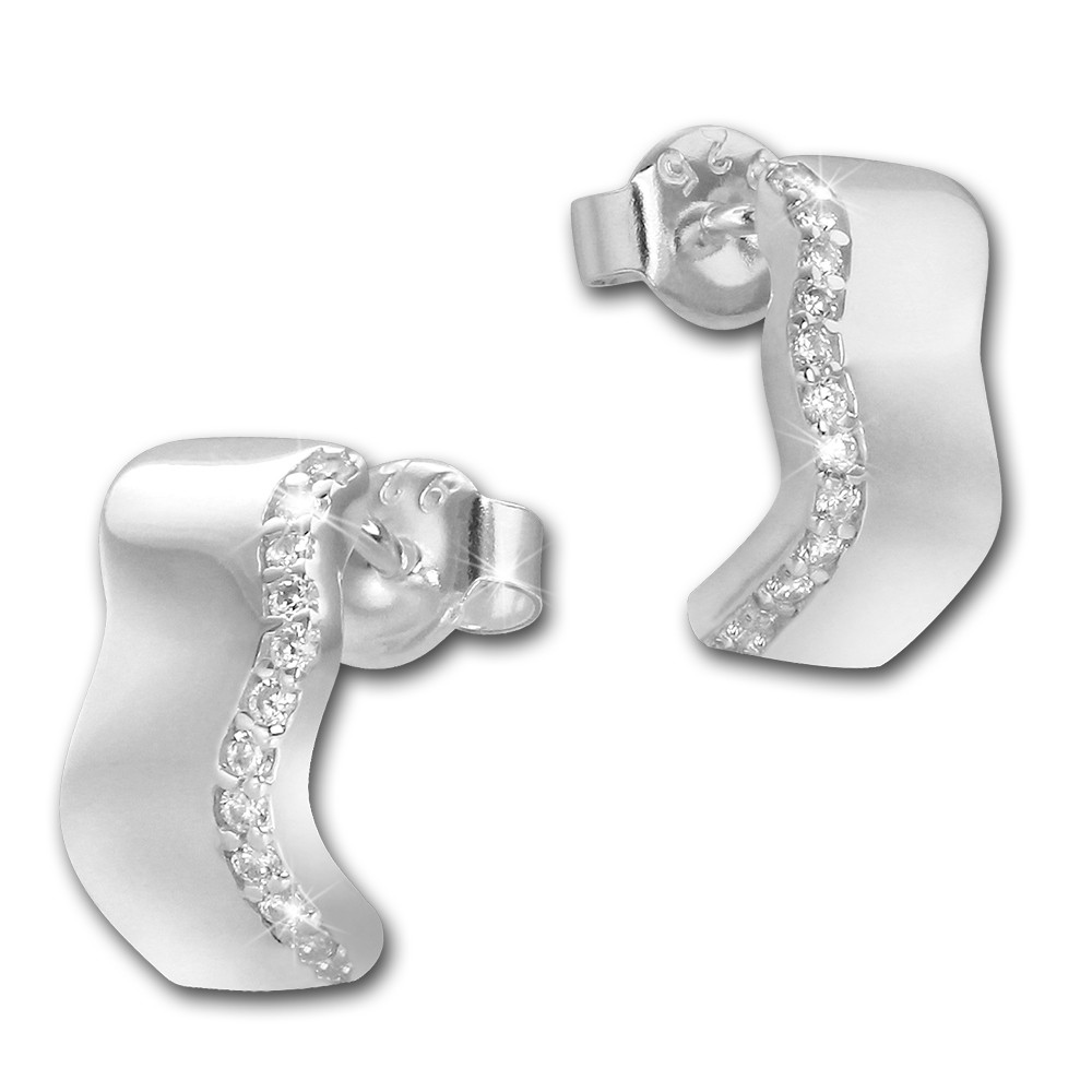SilberDream Ohrstecker Welle Zirkonia weiß 925 Silber Damen Ohrring SDO4275W