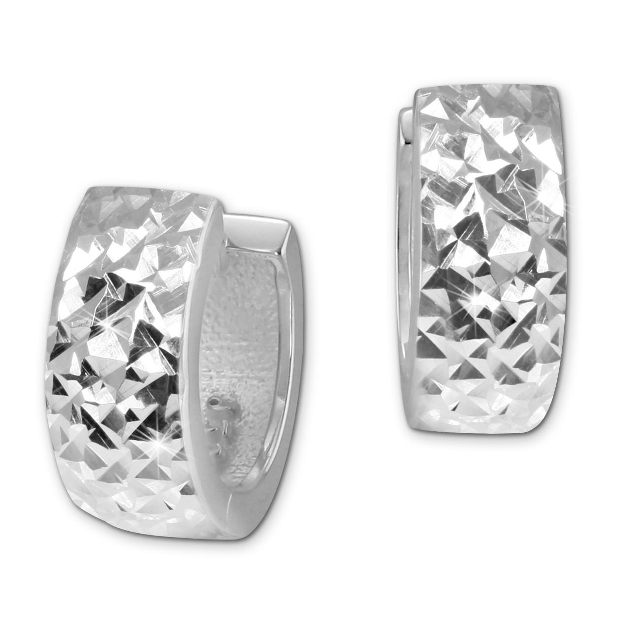 SilberDream Creole diamantiert 11mm 925 Sterling Silber Ohrring SDO4276J