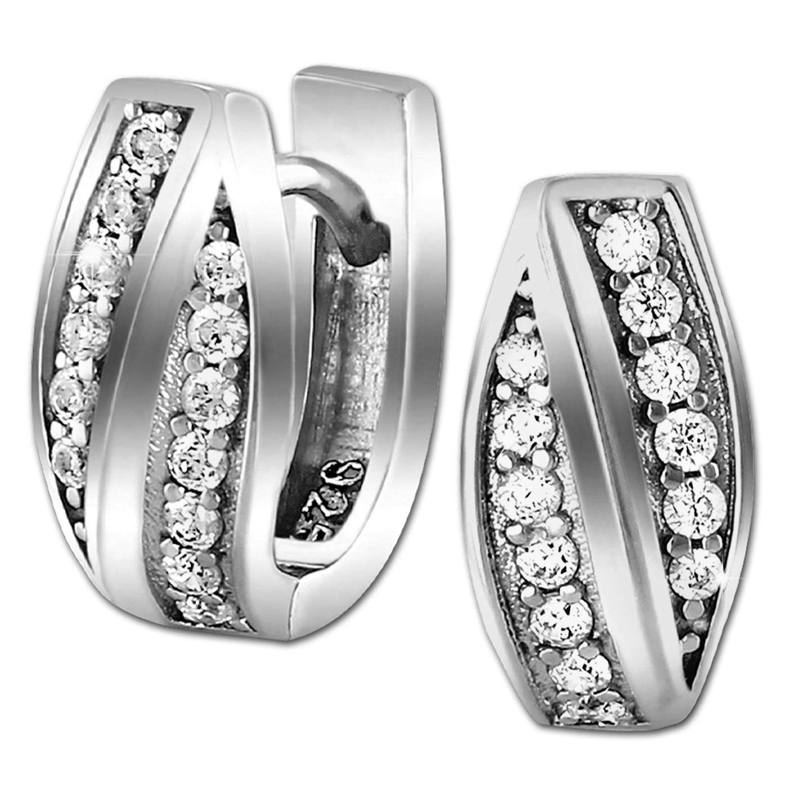 SilberDream Creole Senses Zirkonia weiß 925 Sterling Silber Damen SDO4323W