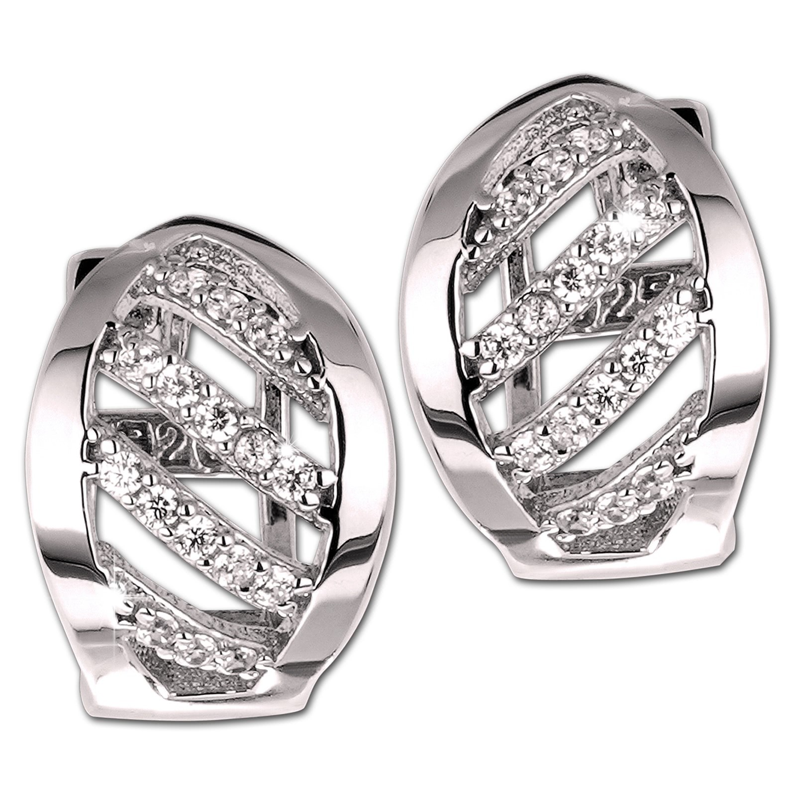 SilberDream Creole Blatt Zirkonia weiß 925 Sterling Silber Damen SDO4365W