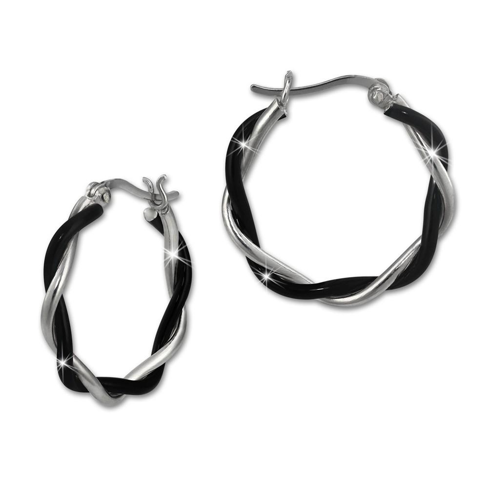SilberDream Creole geflochten 2,5cm schwarz 925 Silber Damen Ohrringe SDO450S