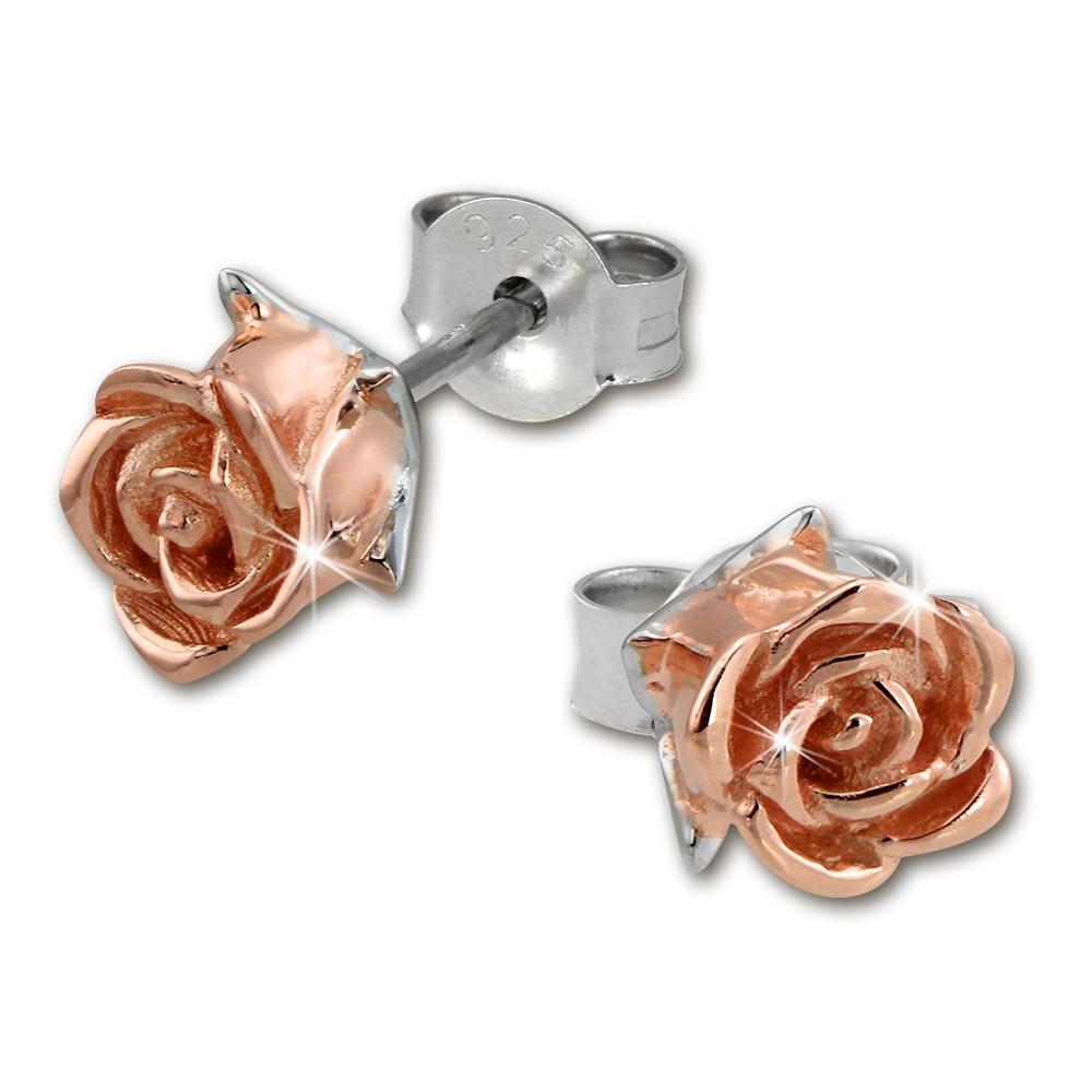 SilberDream Bicolor-Ohrstecker Rose 925 Silber Ohrringe rosévergoldet SDO455T