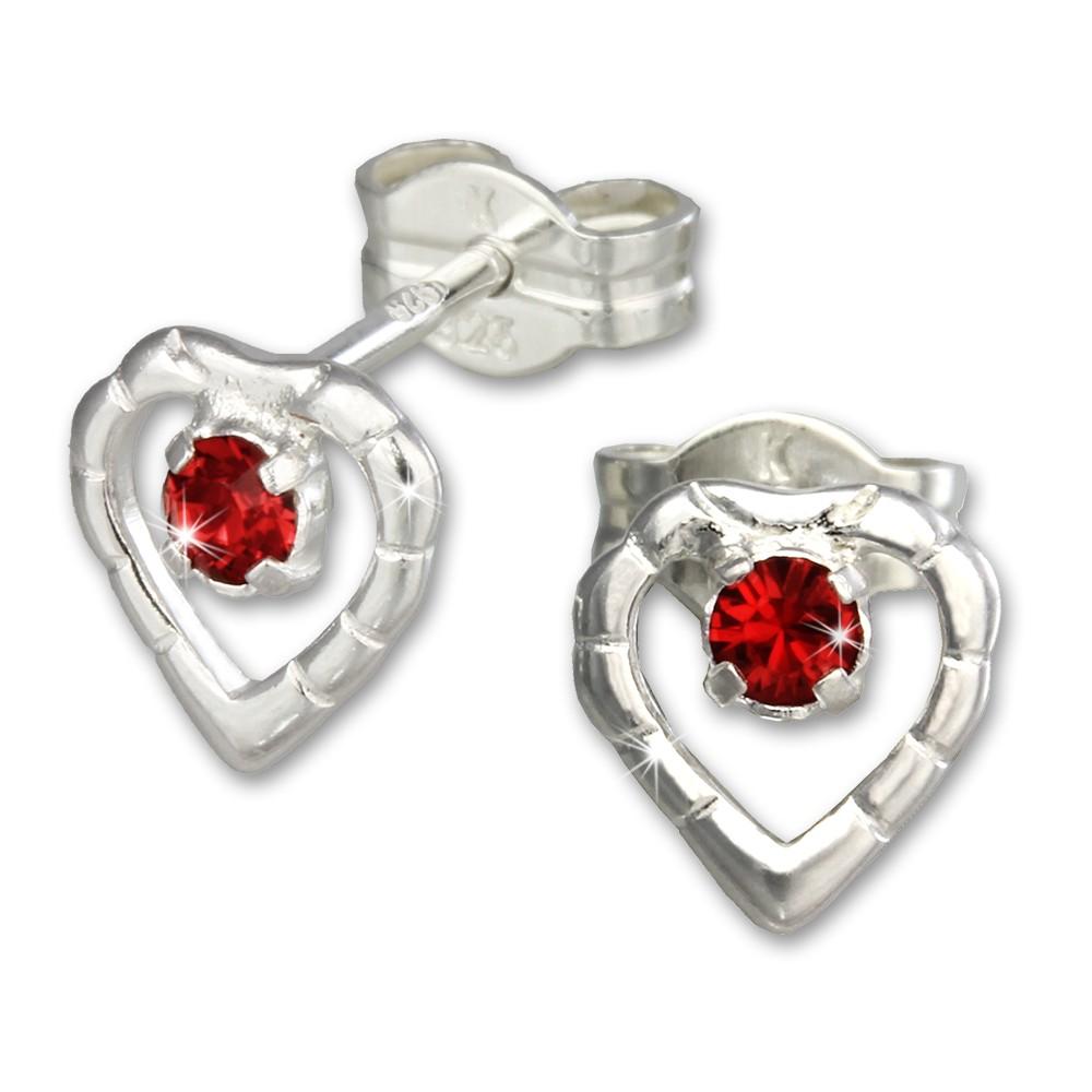 SilberDream Ohrringe Herz rot 925 Silber Ohrstecker SDO505R