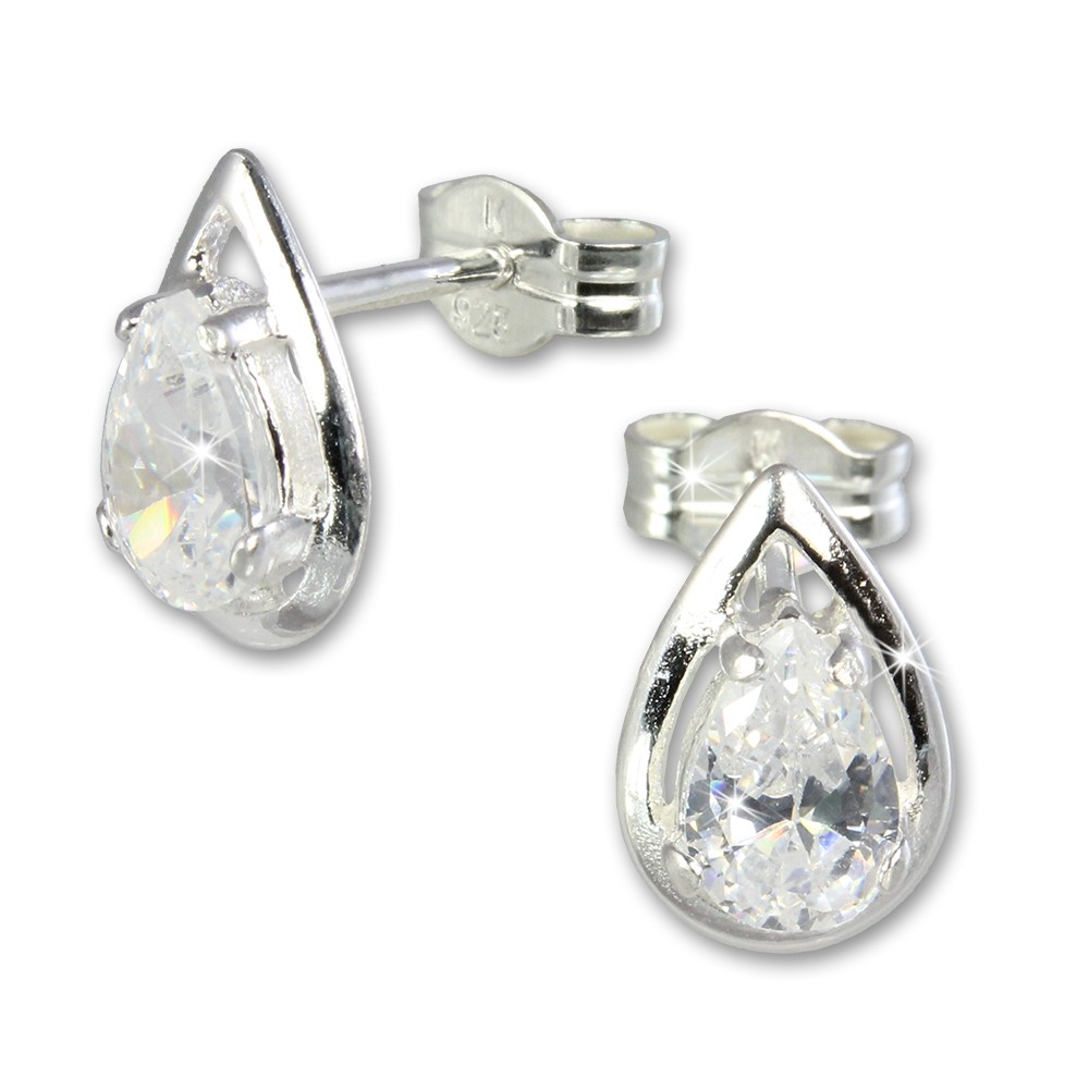 SilberDream Ohrringe Tropfen weiß 925 Silber Ohrstecker SDO506W