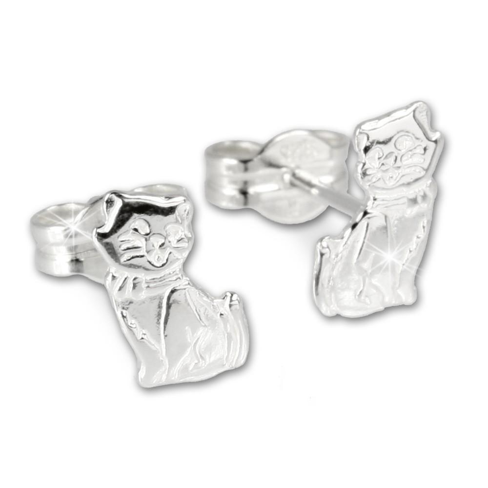 SilberDream Ohrringe Katze 925 Sterling Silber Ohrstecker SDO512