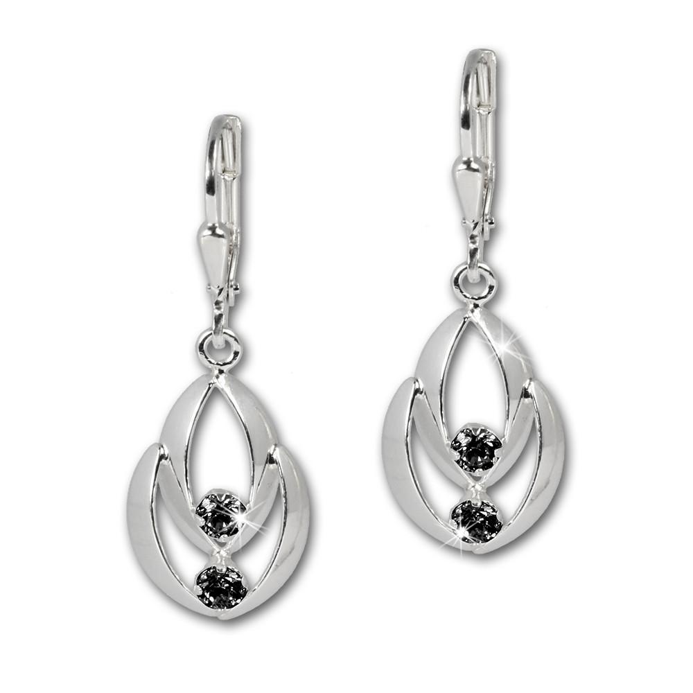 SilberDream Ohrhänger Glamour Zirkonia schwarz Ohrring 925er SDO522S