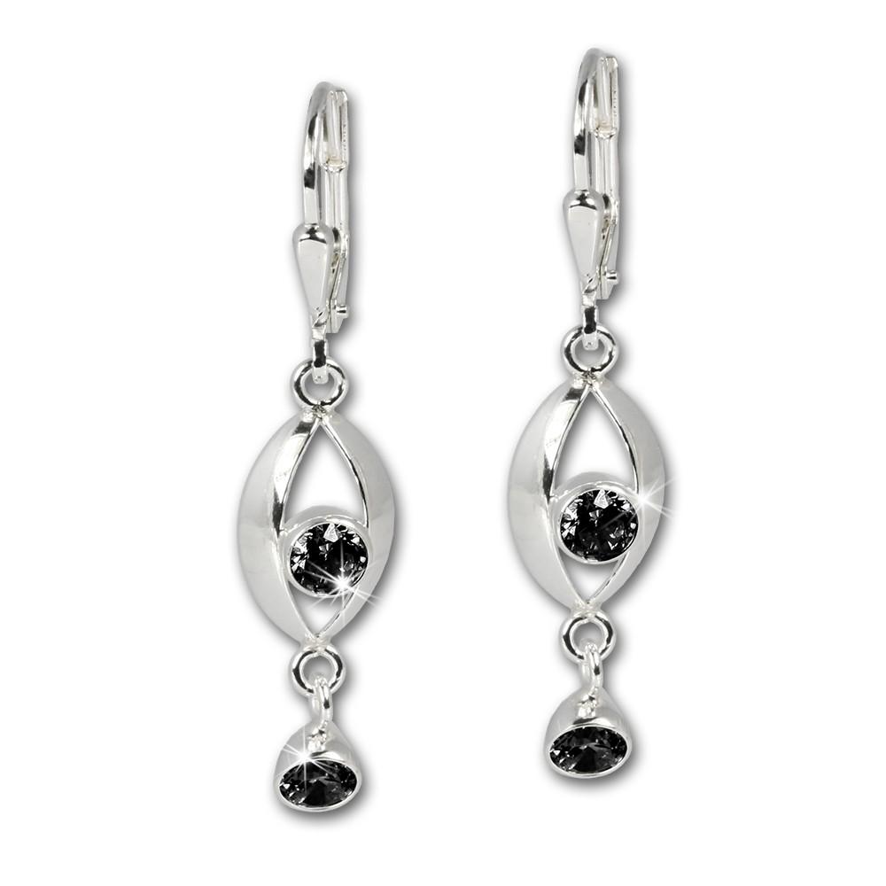 SilberDream Ohrhänger Eye Zirkonia schwarz Ohrring 925 Silber SDO523S