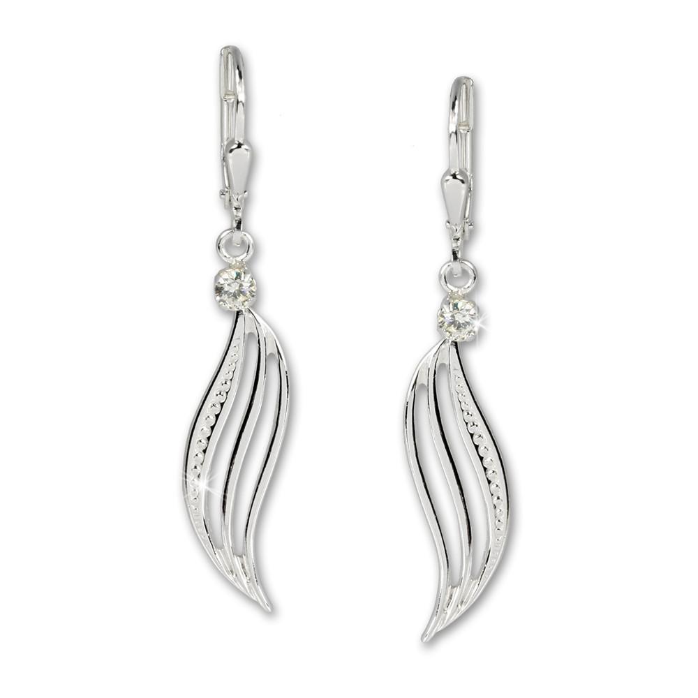 SilberDream Ohrhänger Welle Zirkonia weiß Ohrring 925 Silber SDO524W