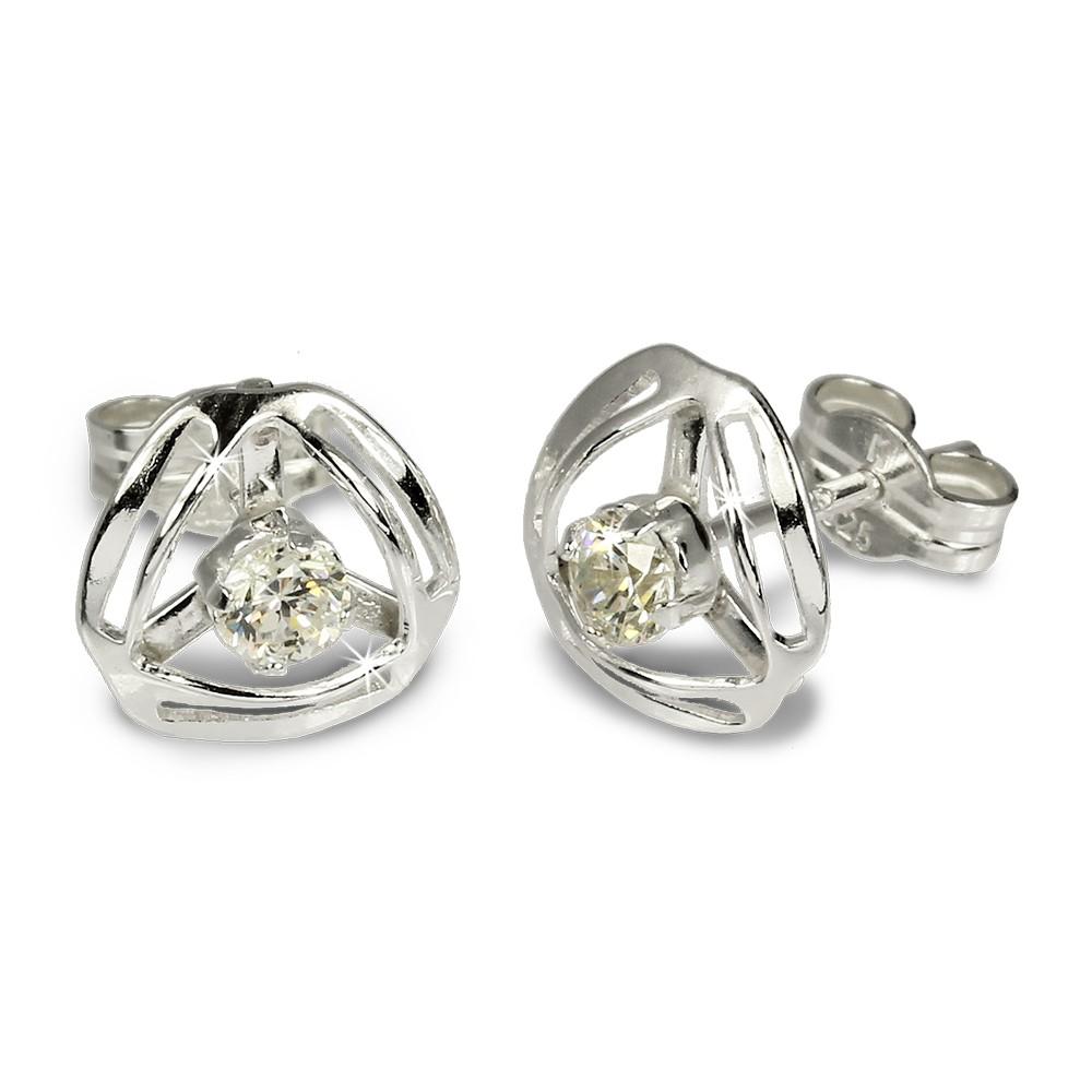 SilberDream Ohrringe Design Zirkonia weiß 925 Silber SDO528W
