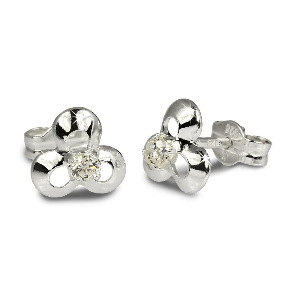 SilberDream Ohrringe Blüte Zirkonia weiß 925 Silber Ohrstecker SDO529W