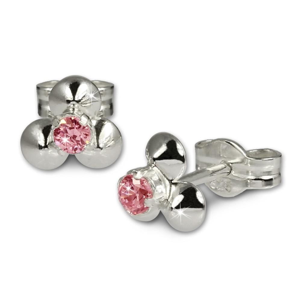 SilberDream Ohrringe Blümchen rosa 925 Silber Ohrstecker SDO530P
