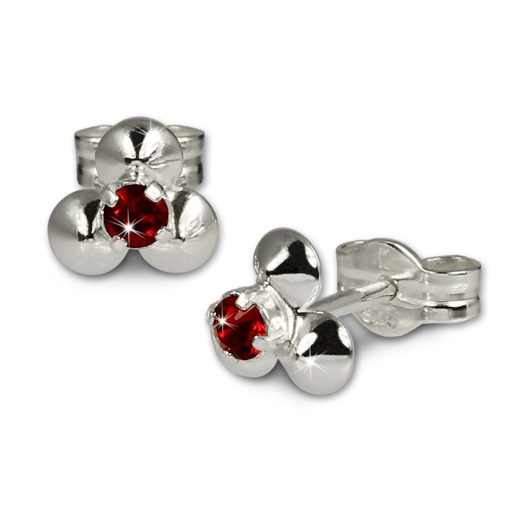 SilberDream Ohrringe Blümchen rot 925 Silber Ohrstecker SDO530R