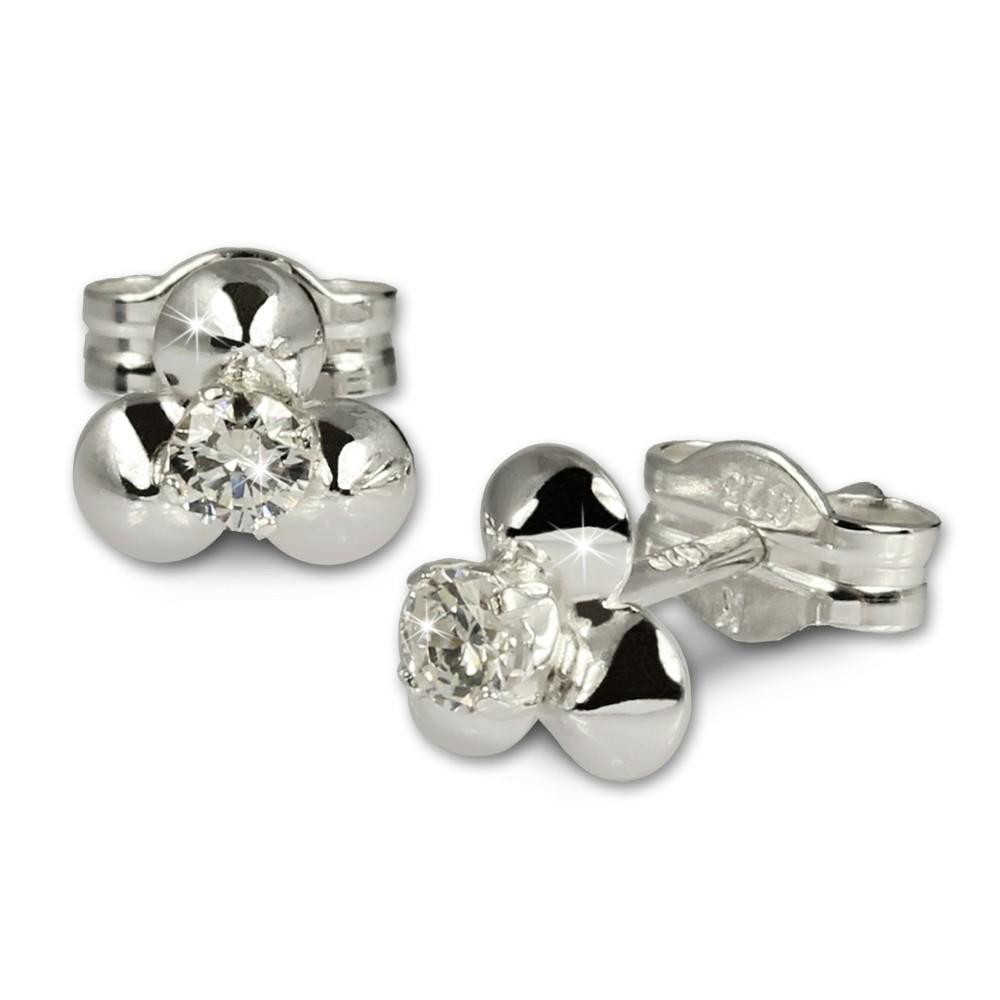 SilberDream Ohrringe Blümchen weiß 925 Silber Ohrstecker SDO530W