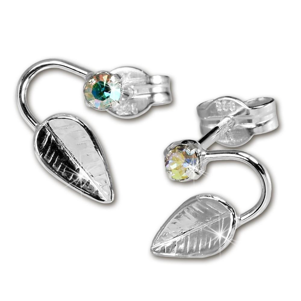 SilberDream Ohrringe Blatt Zirkonia kristall 925 Silber SDO531F