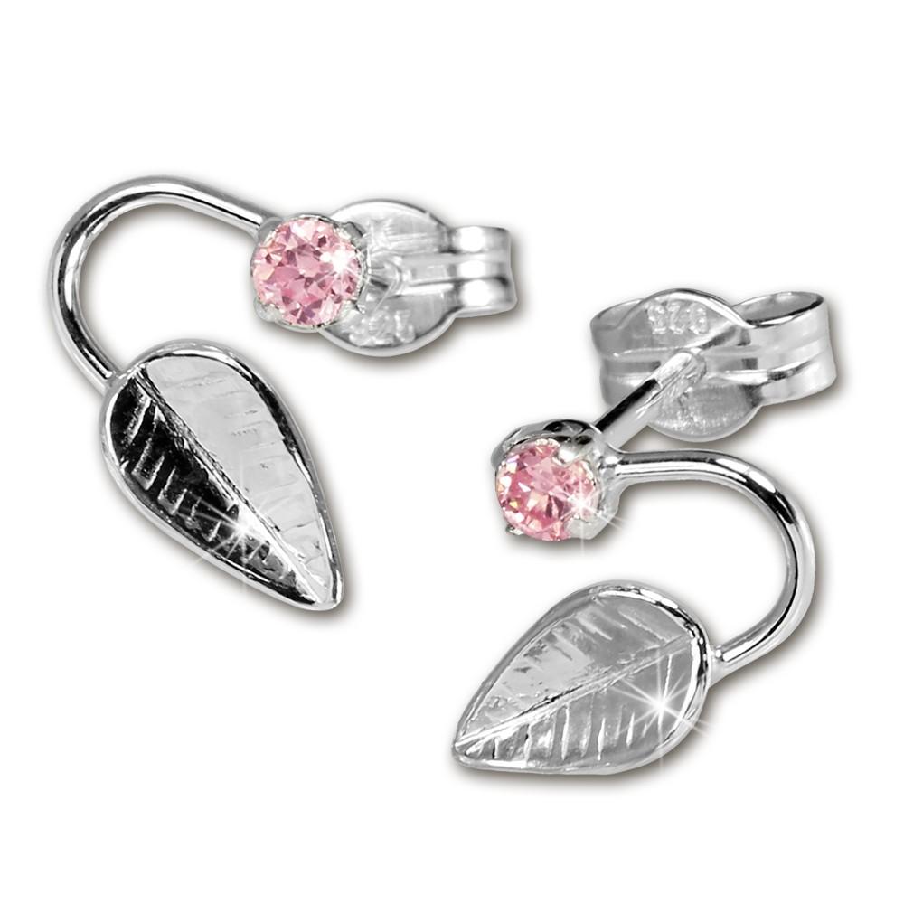 SilberDream Ohrringe Blatt Zirkonia rosa 925 Silber SDO531P