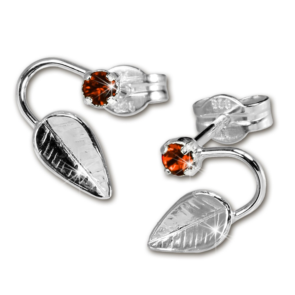 SilberDream Ohrringe Blatt Zirkonia rot 925 Silber SDO531R