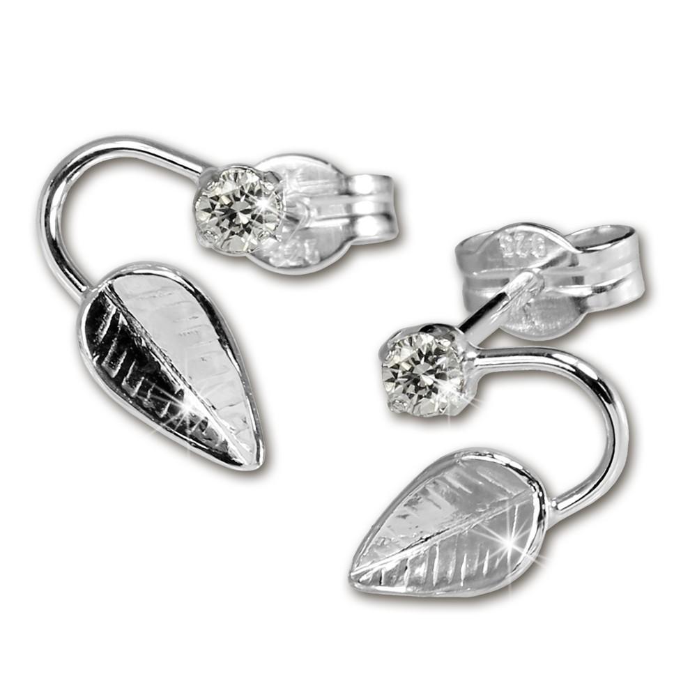SilberDream Ohrringe Blatt Zirkonia weiß 925 Silber SDO531W
