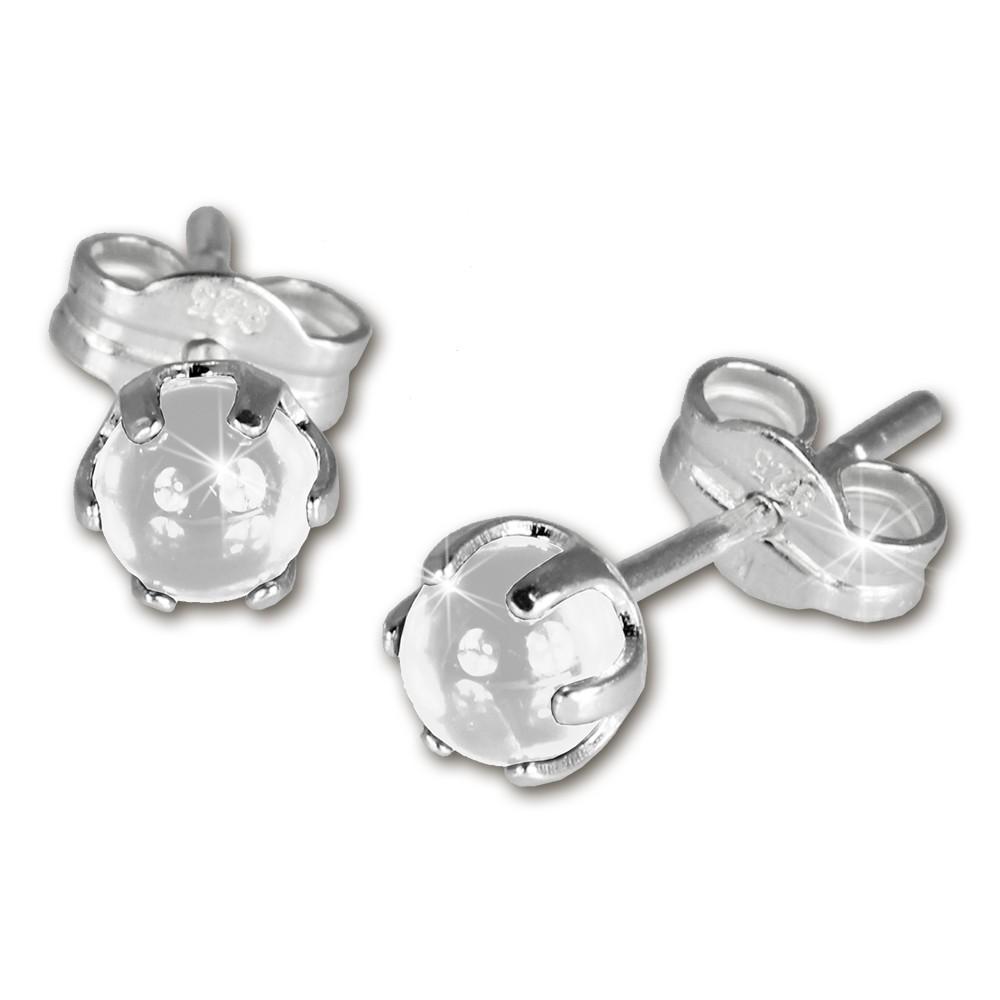 SilberDream Ohrringe Kugel weiß 925 Silber Ohrstecker SDO533W