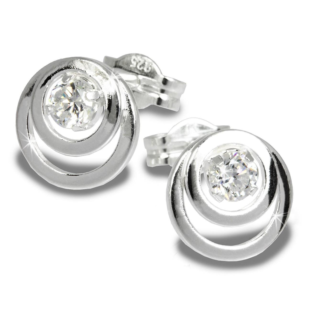 SilberDream Ohrring Kreise Zirkonia weiß 925 Silber Ohrstecker SDO542W