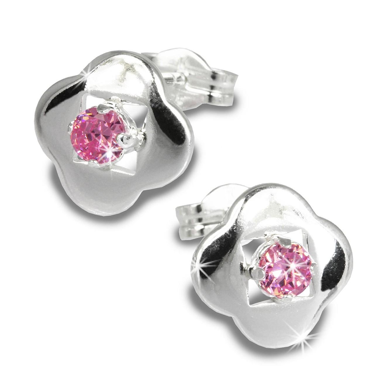 SilberDream Ohrring Kleeblatt Zirkonia rosa 925er Ohrstecker SDO544A