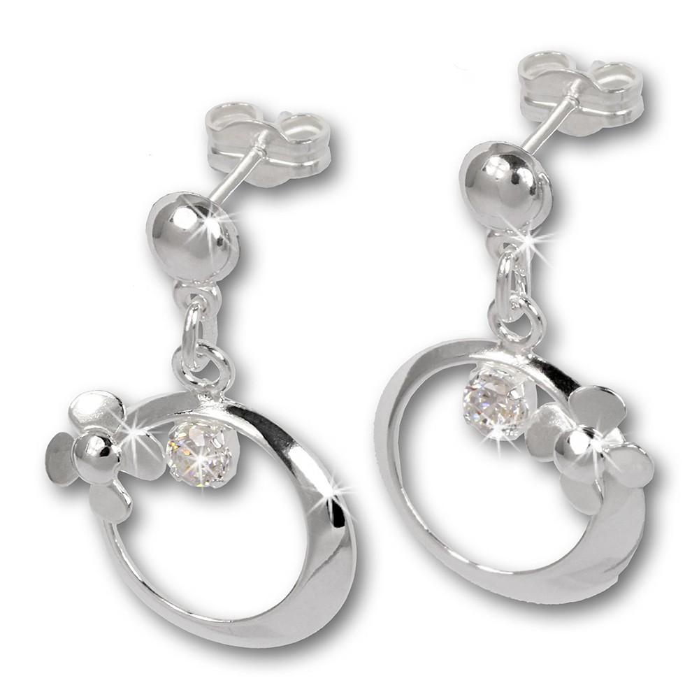 SilberDream Ohrringe Blütenring Zirkonia weiß Ohrstecker 925er SDO547W