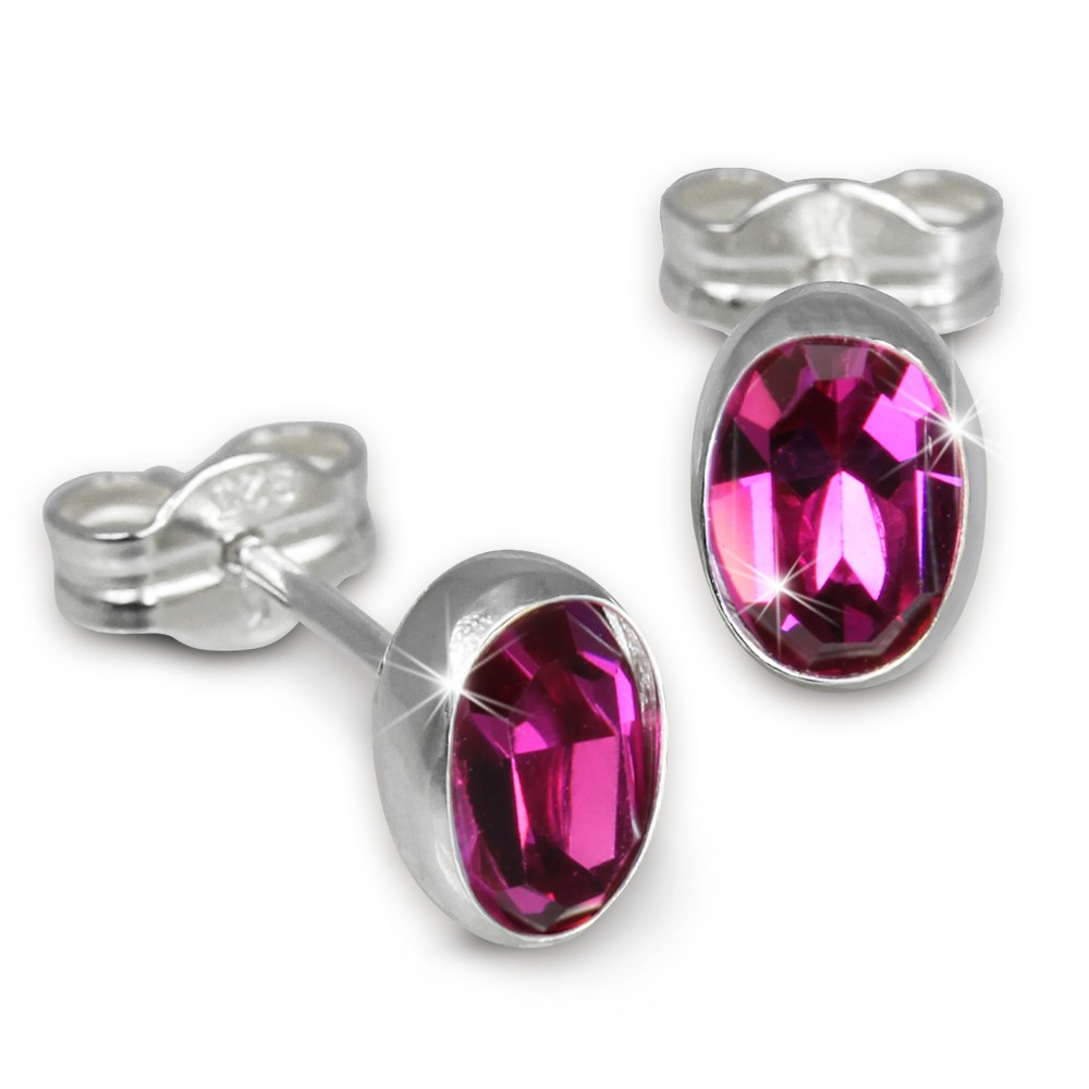 SilberDream Ohrringe Zirkonia oval pink 925er Ohrstecker SDO552P