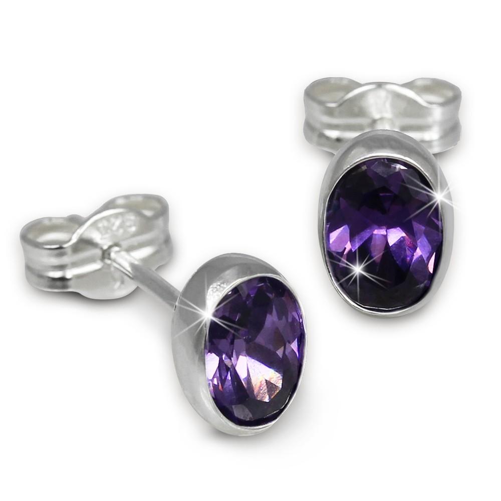 SilberDream Ohrringe Zirkonia oval lila violett 925 Ohrstecker SDO552V