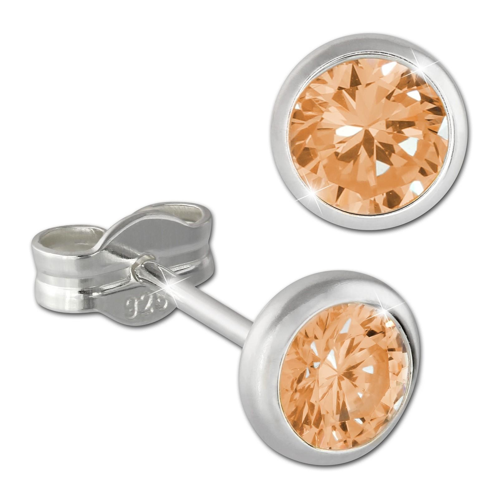 SilberDream Ohrring Zirkonia gelb 5mm 925 Silber Ohrstecker SDO5535Y